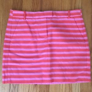 J. Crew Pink/Orange Striped Mini Skirt